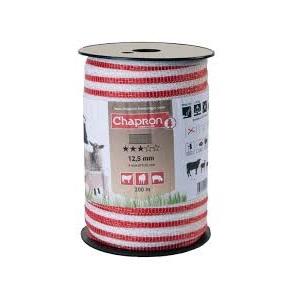 Banda RUBAN pentru gard 12.5mm, alb/rosu, 4 fire inox, 200m